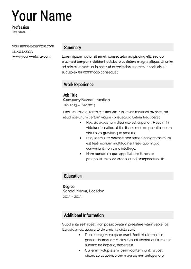 Free Resume Templates – Templates for Professional Resumes