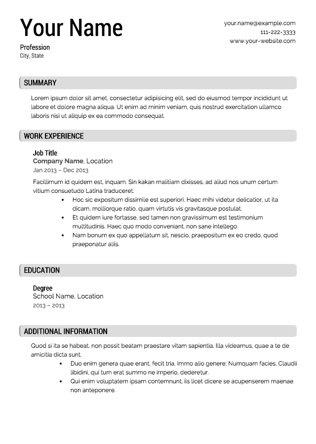 Resume Templates - Fill in resume template free