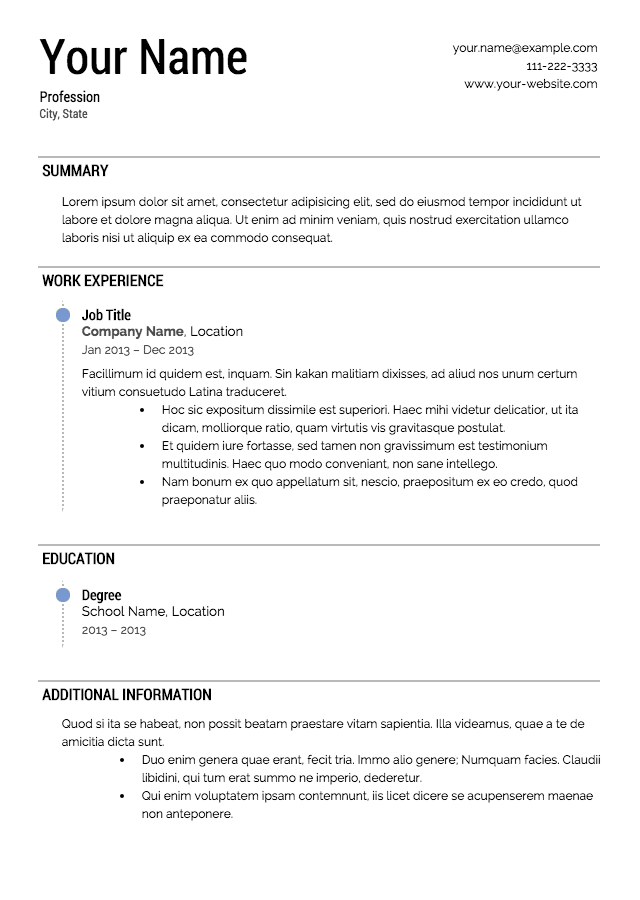 Free Resume Templates – Printable Resume Template
