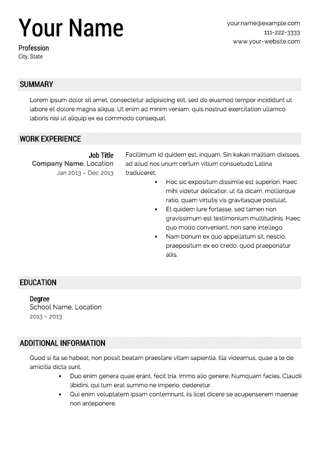 Free Downloadable Resume Templates - CARSPART