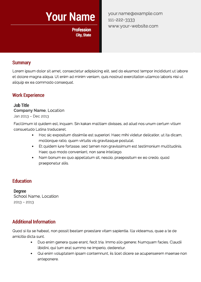 resume template 9 effective resume template - Successful Resume Templates