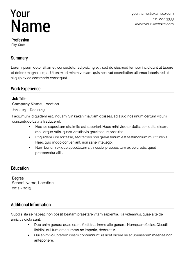 free easy to use resume templates free resume templates - Free Easy Resume Templates
