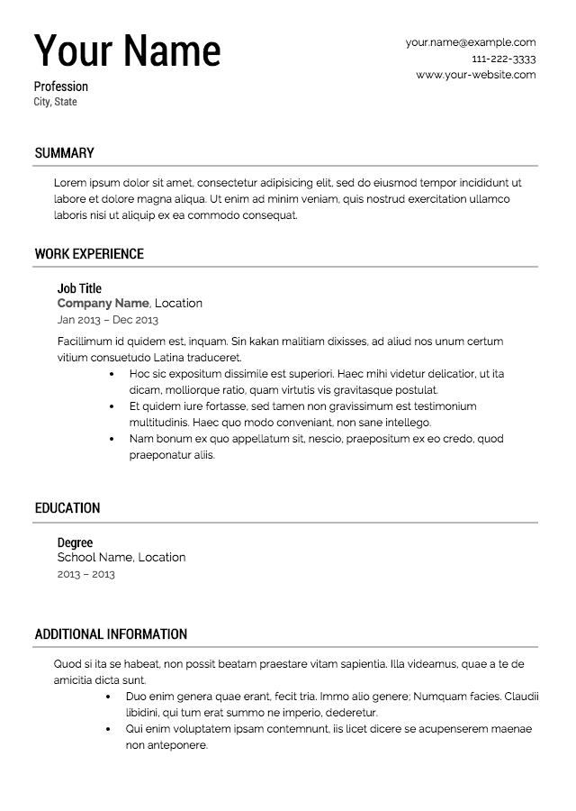 resume template 5 classic resume template - Template For A Resume