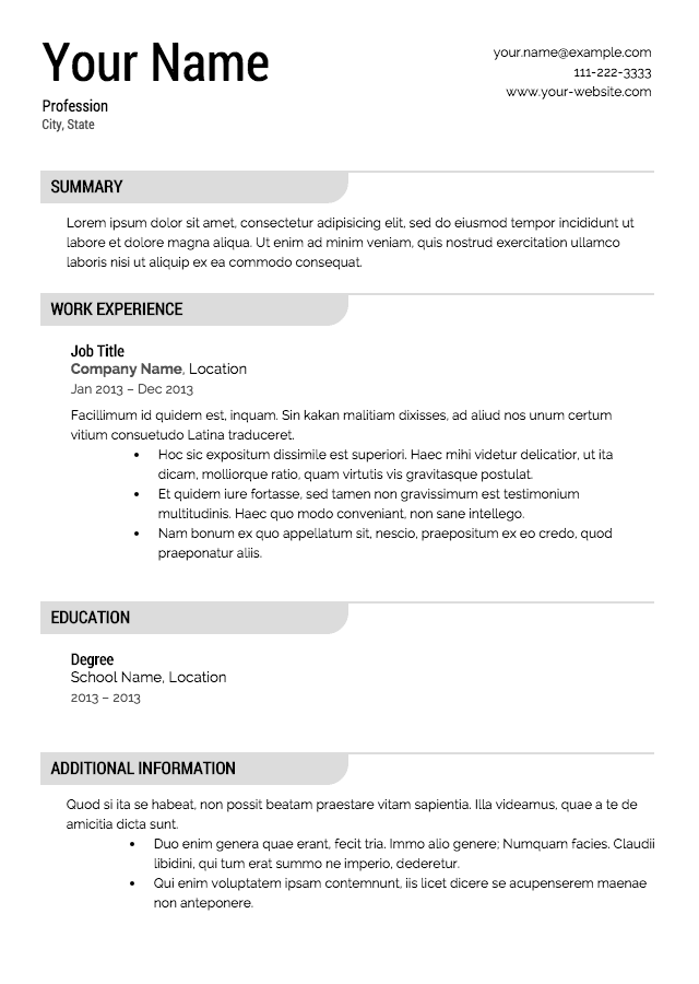 free resume templates - Free Resume Sample
