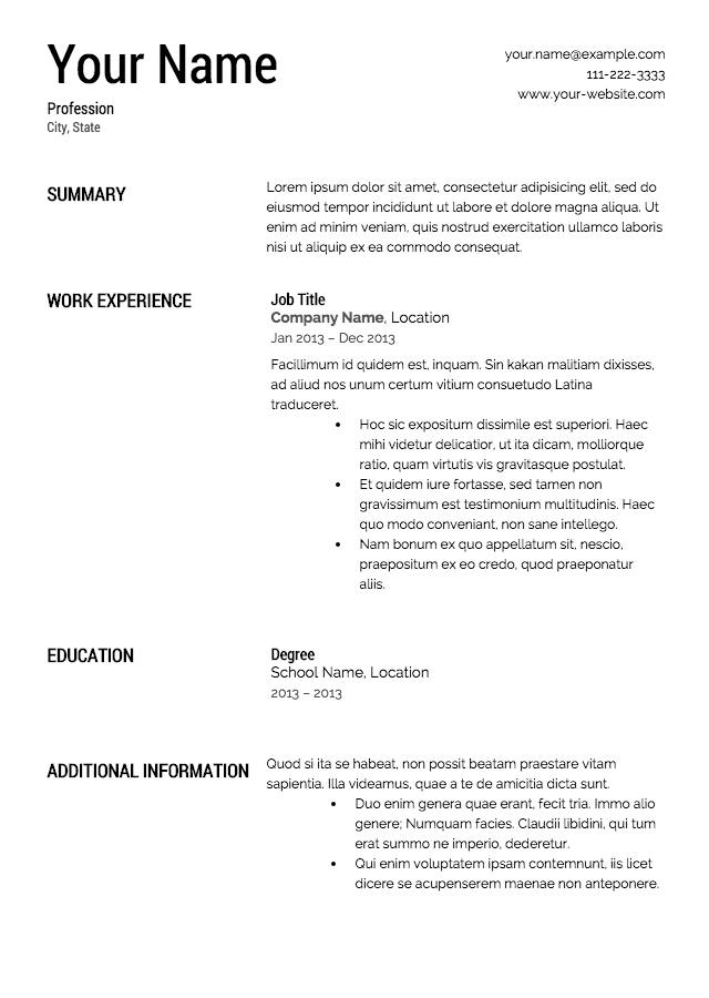 Free Resume Templates - Fill in resume template free