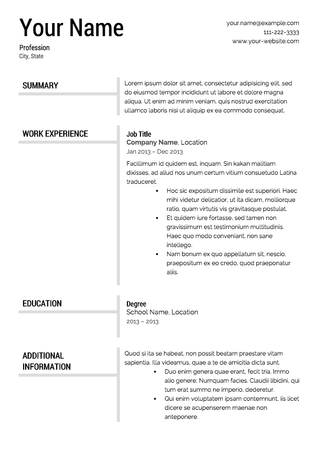 free resume templates - Templates Of Resumes