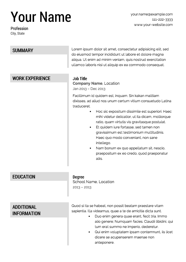 Gallery For Resume Templates Free